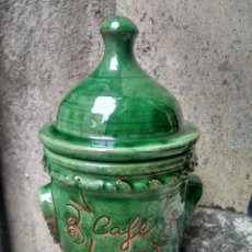 Antigüedades: CERÁMICA UBEDÍ - PUCHERO U ORCILLA EN VIDRIADO VERDE - PARA CAFÉ - ALFAR ALAMEDA, ÚBEDA, JAÉN. Lote 218006780