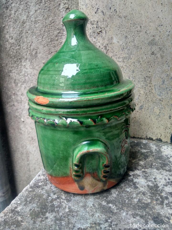 Antigüedades: CERÁMICA UBEDÍ - PUCHERO U ORCILLA EN VIDRIADO VERDE - PARA CAFÉ - ALFAR ALAMEDA, ÚBEDA, JAÉN - Foto 2 - 218006780