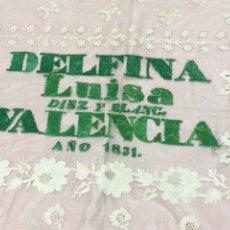 Antigüedades: PAÑO O TELA DE SEDA BORDADA 1833 VALENCIA. Lote 218027276