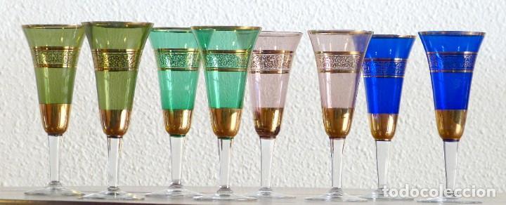 COPAS DE CHAMPAGNE DE CRISTAL DE BOHEMIA (Antigüedades - Cristal y Vidrio - Bohemia)
