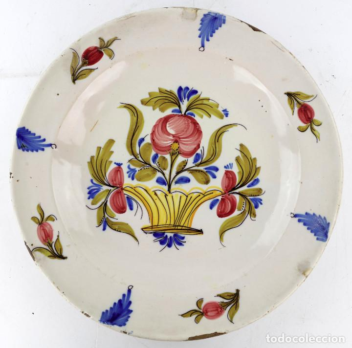 PLATO MANISES SIGLO XIX 34,2 CM. FIRMADO. VER REVERSO (Antigüedades - Porcelanas y Cerámicas - Manises)