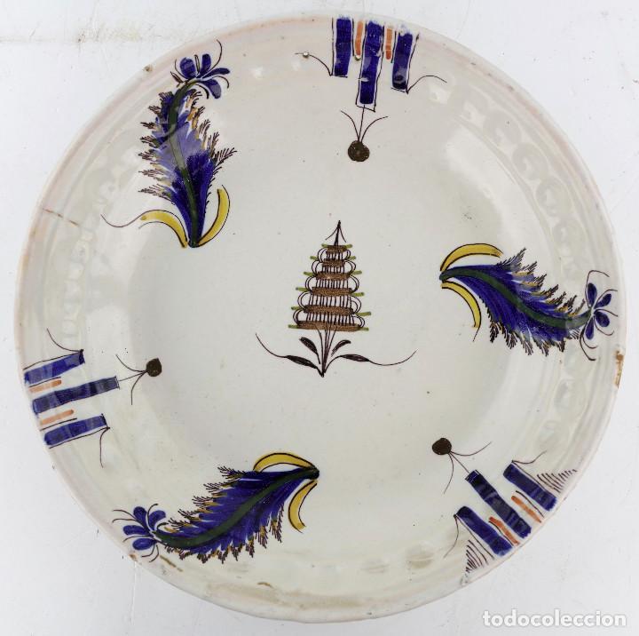 PLATO MANISES SIGLO XIX 29 CM. DE DIÁMETRO, FIRMADO. VER REVERSO (Antigüedades - Porcelanas y Cerámicas - Manises)