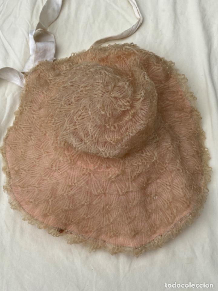 Antigüedades: Antiguo y curioso sombrero pamela infantil trenzado naylon lver fotos - Foto 2 - 218114251