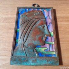 Antigüedades: CUADRO DE COBRE Y ESMALTE DE LA MORENETA ANTIGUO VIRGEN DE MONTSERRAT. Lote 218114535