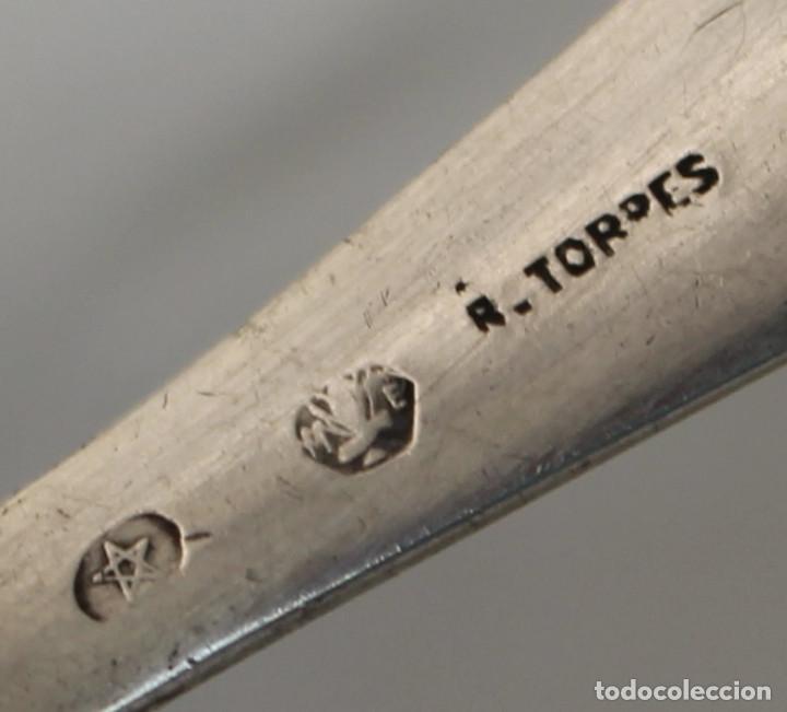 Antigüedades: tenedor infantil en plata maciza de ley 925 r.torres - Foto 5 - 218136350