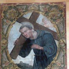 Antigüedades: TAPIZ ANTIGUO . RELIGIOSO. Lote 218140511