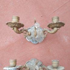 Antigüedades: DOS ANTIGUOS APLIQUES DE ARAÑA. Lote 218196135