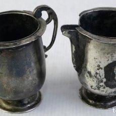 Antigüedades: PAREJA DE PEQUEÑAS JARROTAS EN PLATA SIGLO XVIII. Lote 218200092
