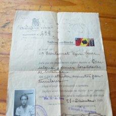 Antigüedades: GUERRA CIVIL SALVOCONDUCTO 21 DE DICIEMBRE 1939 SELLO SUBSIDIO AL COMBATIENTE. Lote 218225227