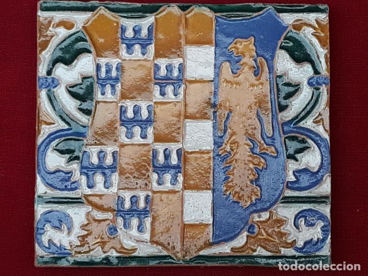 Antigüedades: AZULEJO DE CERAMICA EN ARISTA DE AGUADO - TOLEDO - HERALDICA - PIEZA UNICA: - Foto 4 - 218228438