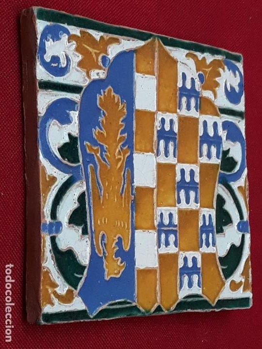 Antigüedades: AZULEJO DE CERAMICA EN ARISTA DE AGUADO - TOLEDO - HERALDICA - PIEZA UNICA: - Foto 8 - 218228438