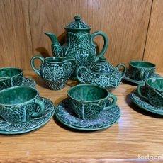 Antigüedades: JUEGO CAFE VERDE AÑOS 50? 5 SERVICIOS PERFECTO ESTADO. Lote 218245062