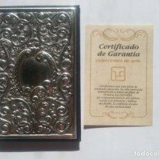 Antigüedades: AGENDA TEL. DE PLATA DE LEY 925 CON CERTIFICADO DE GARANTÍA. HECHA A MANO. INTERIOR SIN USO.. Lote 218261446