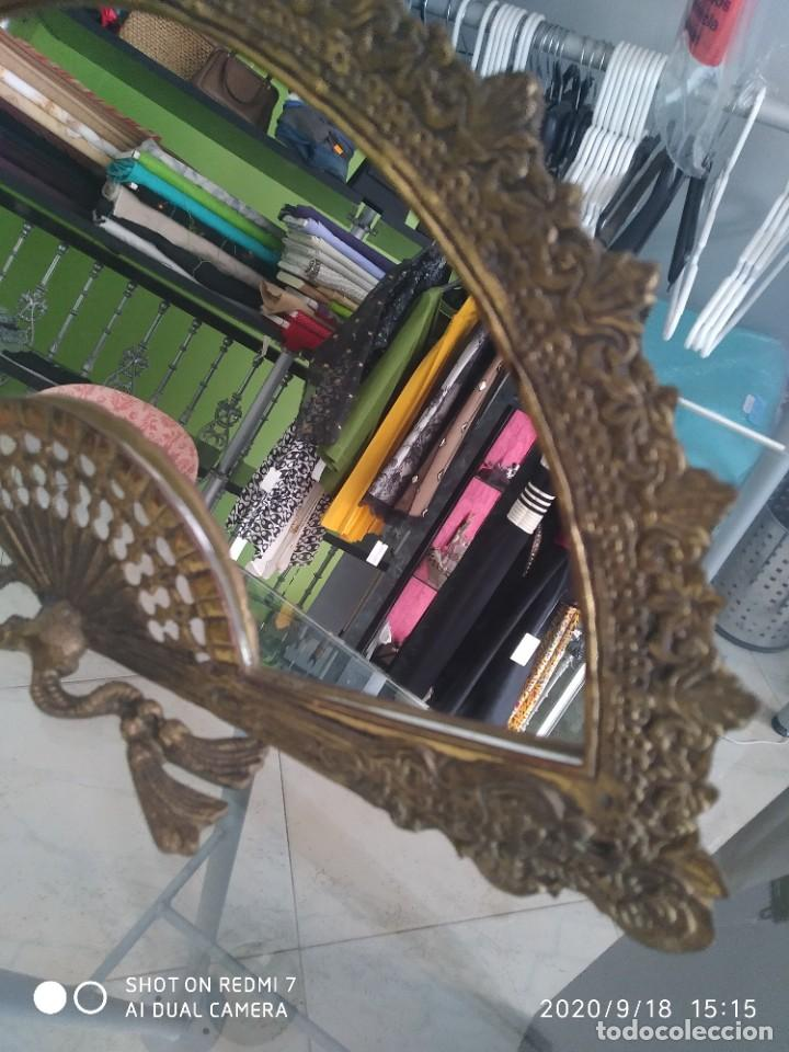 Antigüedades: Antiguo espejo abanico bronce - Foto 2 - 218279667