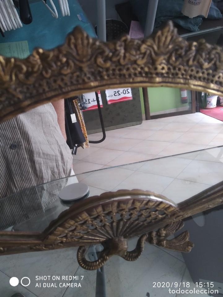 Antigüedades: Antiguo espejo abanico bronce - Foto 4 - 218279667