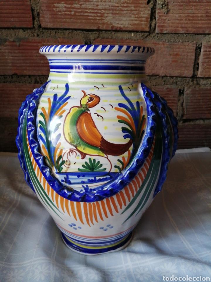 Antigüedades: Jarrón grande de ceramica Talavera - Foto 3 - 218288598