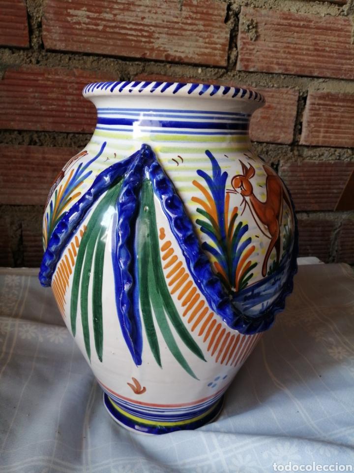 Antigüedades: Jarrón grande de ceramica Talavera - Foto 6 - 218288598