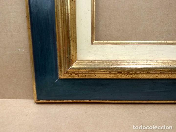 Antigüedades: Marco antiguo con arpillera verde azulado y oro - Foto 4 - 218315673