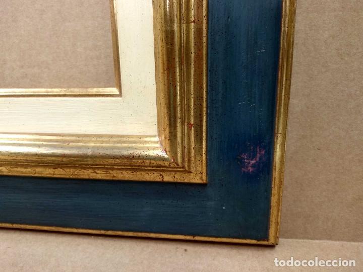 Antigüedades: Marco antiguo con arpillera verde azulado y oro - Foto 5 - 218315673