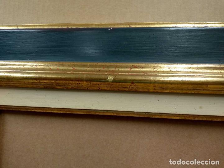 Antigüedades: Marco antiguo con arpillera verde azulado y oro - Foto 6 - 218315673