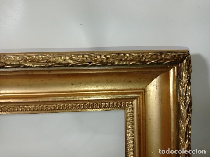 Antigüedades: Antiguo marco realizado en madera y pan de oro medidas interiores y exteriores fotografiadas - Foto 2 - 218329891