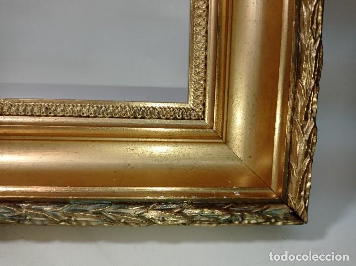 Antigüedades: Antiguo marco realizado en madera y pan de oro medidas interiores y exteriores fotografiadas - Foto 3 - 218329891