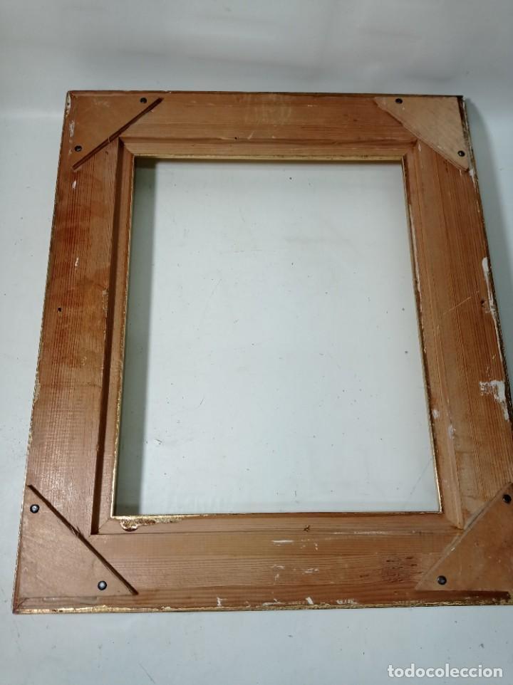 Antigüedades: Antiguo marco realizado en madera y pan de oro medidas interiores y exteriores fotografiadas - Foto 5 - 218329891