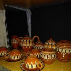 Oggetti Antichi: JUEGO CAFÉ BARRO COCIDO ESMALTADO. Lote 218332282