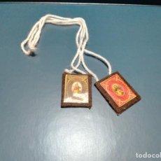 Antigüedades: ANTIGUO ESCAPULARIO VIRGEN CARMEN Y SAGRADO CORAZÓN DE JESÚS REALIZADO POR CARMELITAS. Lote 218334778