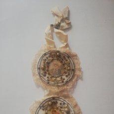 Antigüedades: ESCAPULARIO DE CUNA BORDADO. Lote 218350981