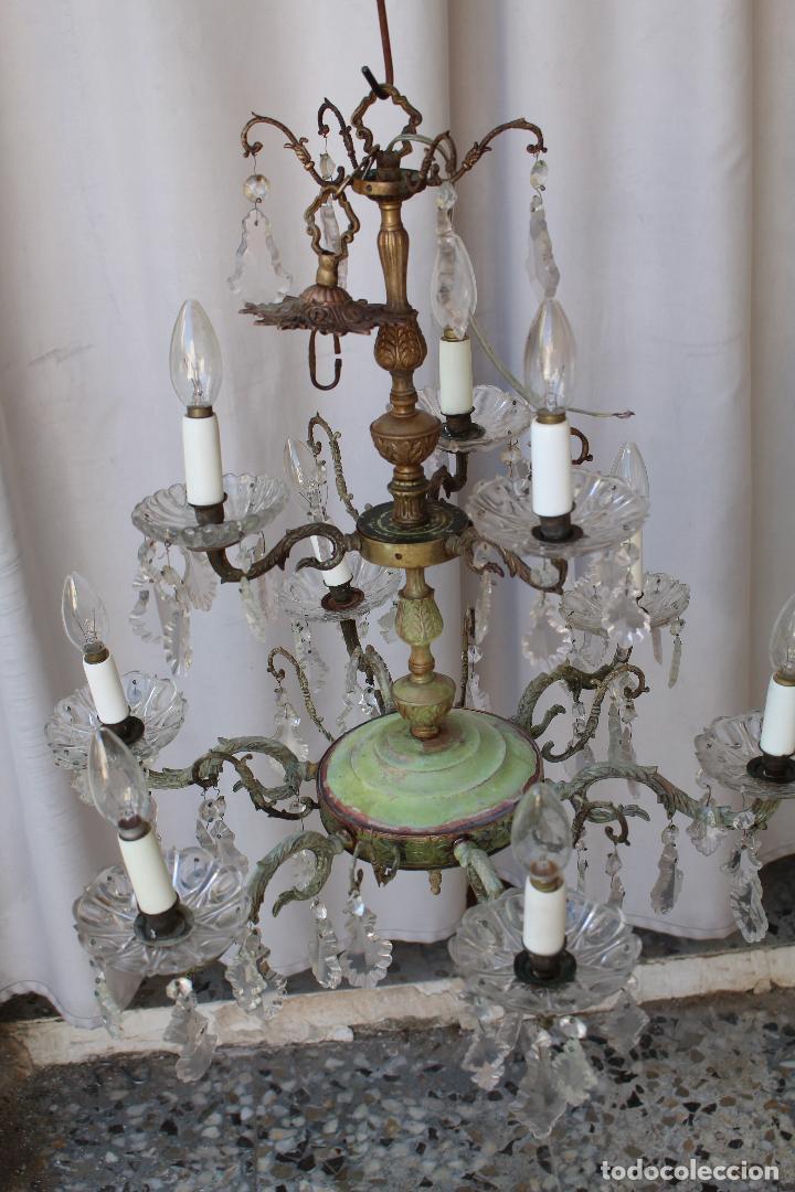 Antigüedades: lampara de techo antigua bronce y cristal - Foto 2 - 218351616