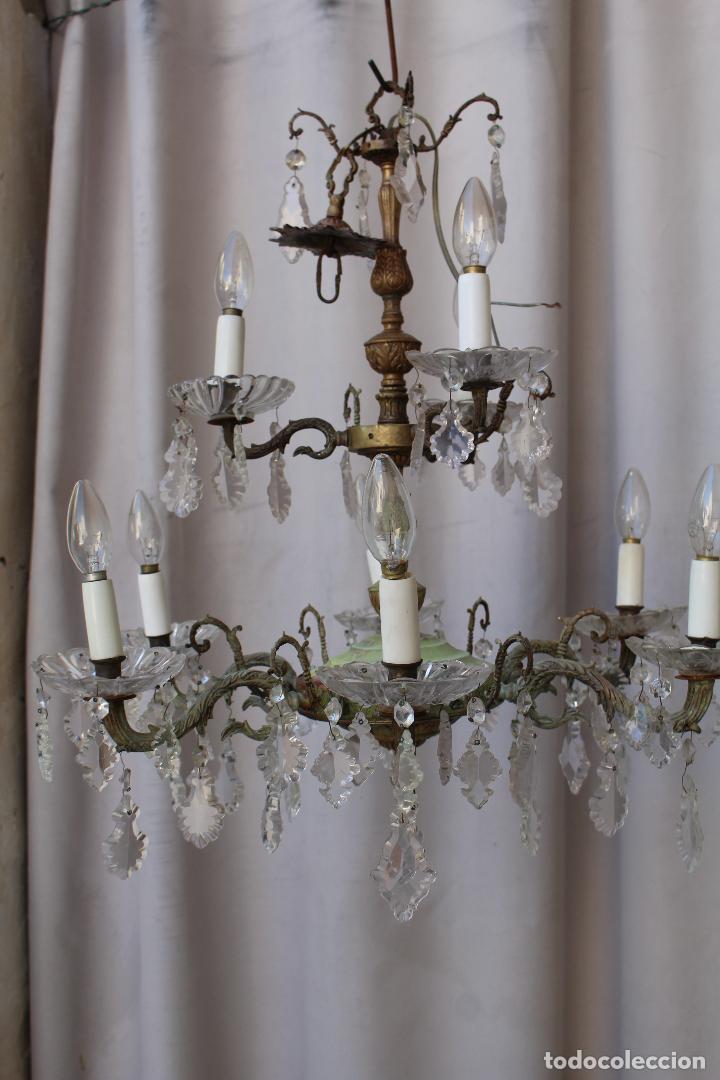 Antigüedades: lampara de techo antigua bronce y cristal - Foto 3 - 218351616