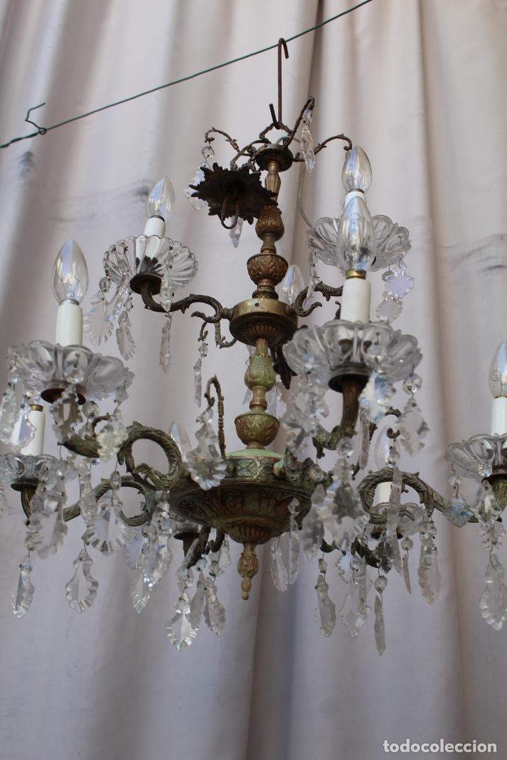 Antigüedades: lampara de techo antigua bronce y cristal - Foto 4 - 218351616