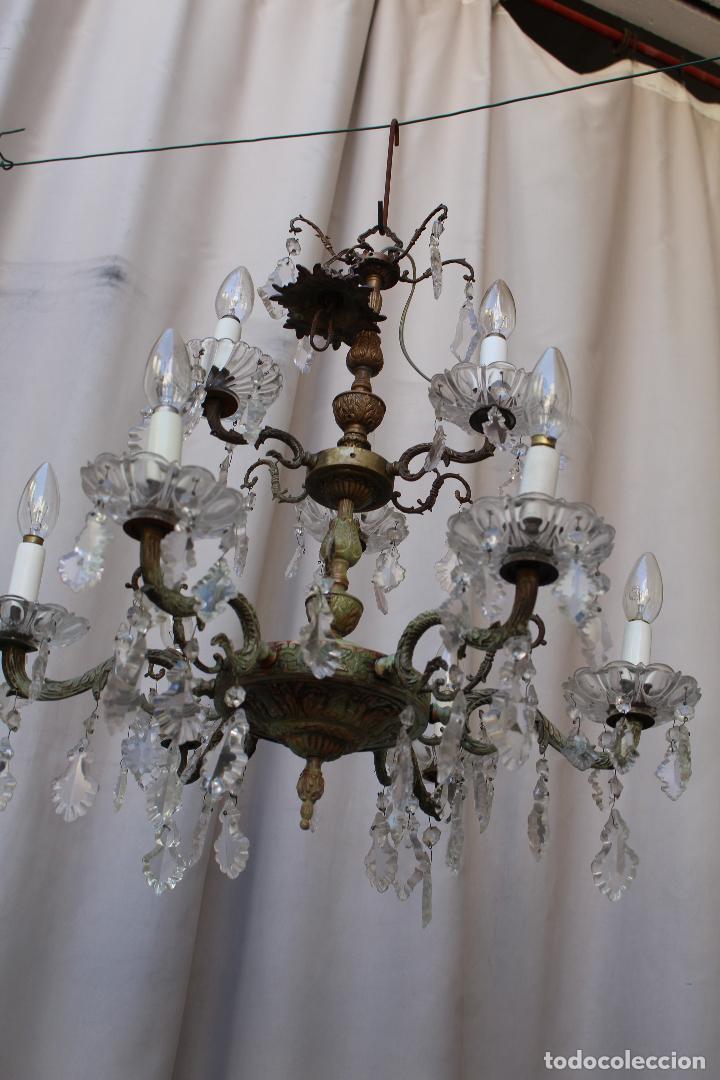 Antigüedades: lampara de techo antigua bronce y cristal - Foto 5 - 218351616