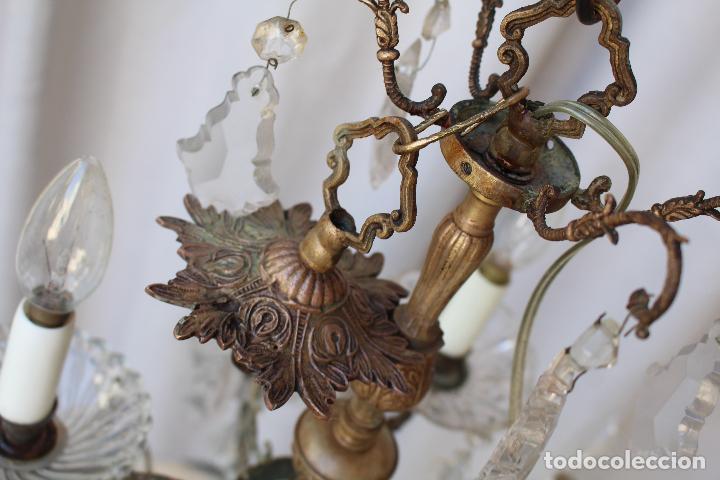 Antigüedades: lampara de techo antigua bronce y cristal - Foto 6 - 218351616