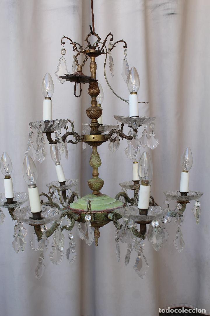 Antigüedades: lampara de techo antigua bronce y cristal - Foto 7 - 218351616