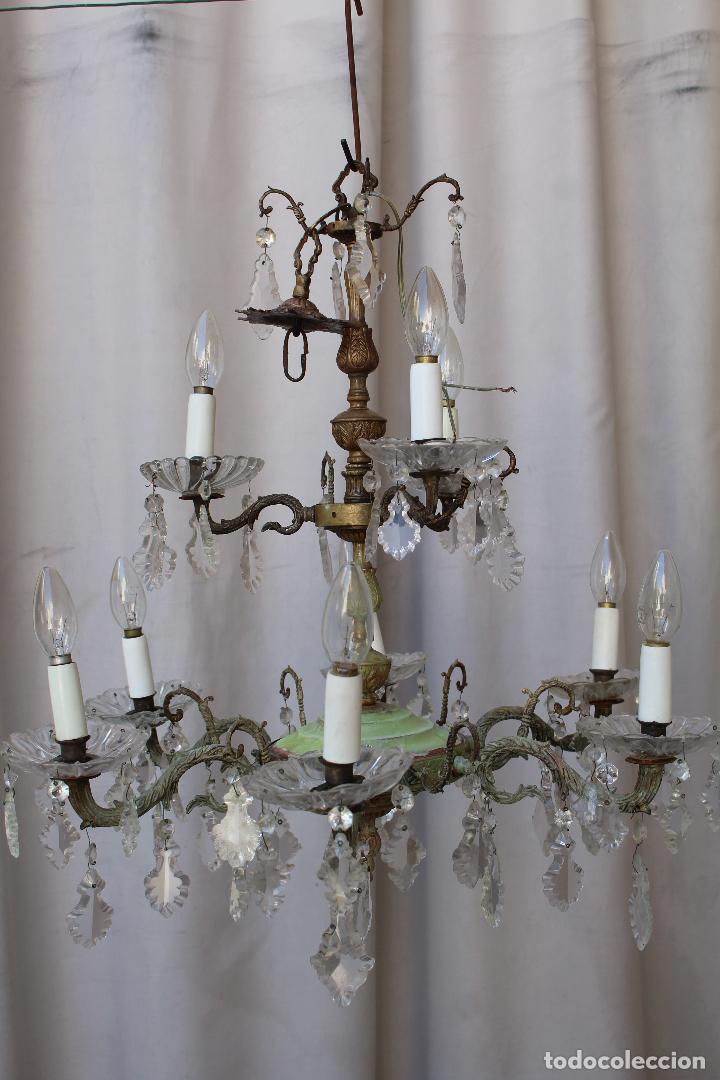 Antigüedades: lampara de techo antigua bronce y cristal - Foto 8 - 218351616