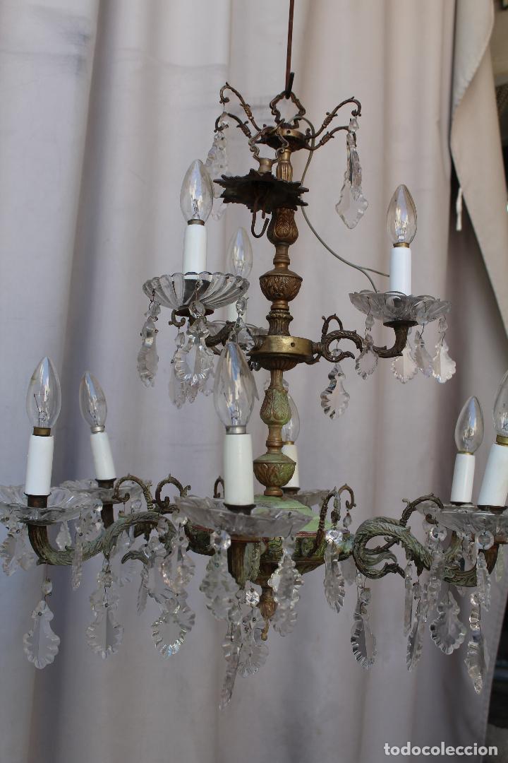 Antigüedades: lampara de techo antigua bronce y cristal - Foto 9 - 218351616