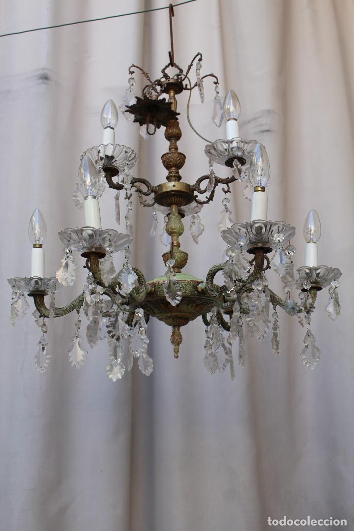 LAMPARA DE TECHO ANTIGUA BRONCE Y CRISTAL (Antigüedades - Iluminación - Lámparas Antiguas)