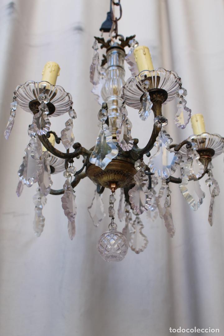 Antigüedades: lampara de techo antigua bronce y cristal - Foto 2 - 218351681