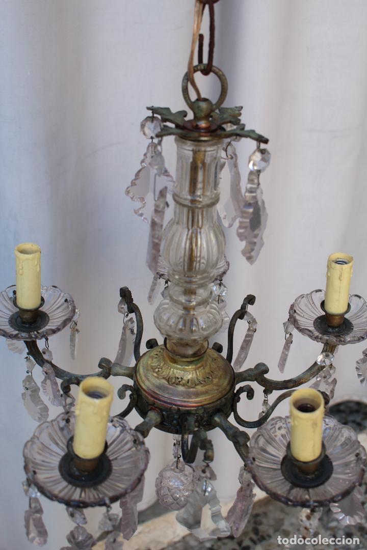 Antigüedades: lampara de techo antigua bronce y cristal - Foto 3 - 218351681