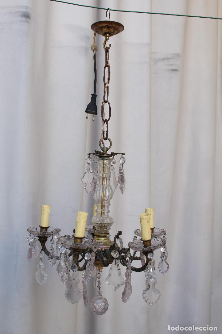 Antigüedades: lampara de techo antigua bronce y cristal - Foto 4 - 218351681