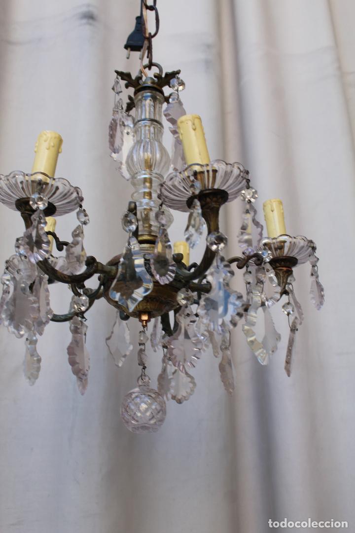 Antigüedades: lampara de techo antigua bronce y cristal - Foto 5 - 218351681