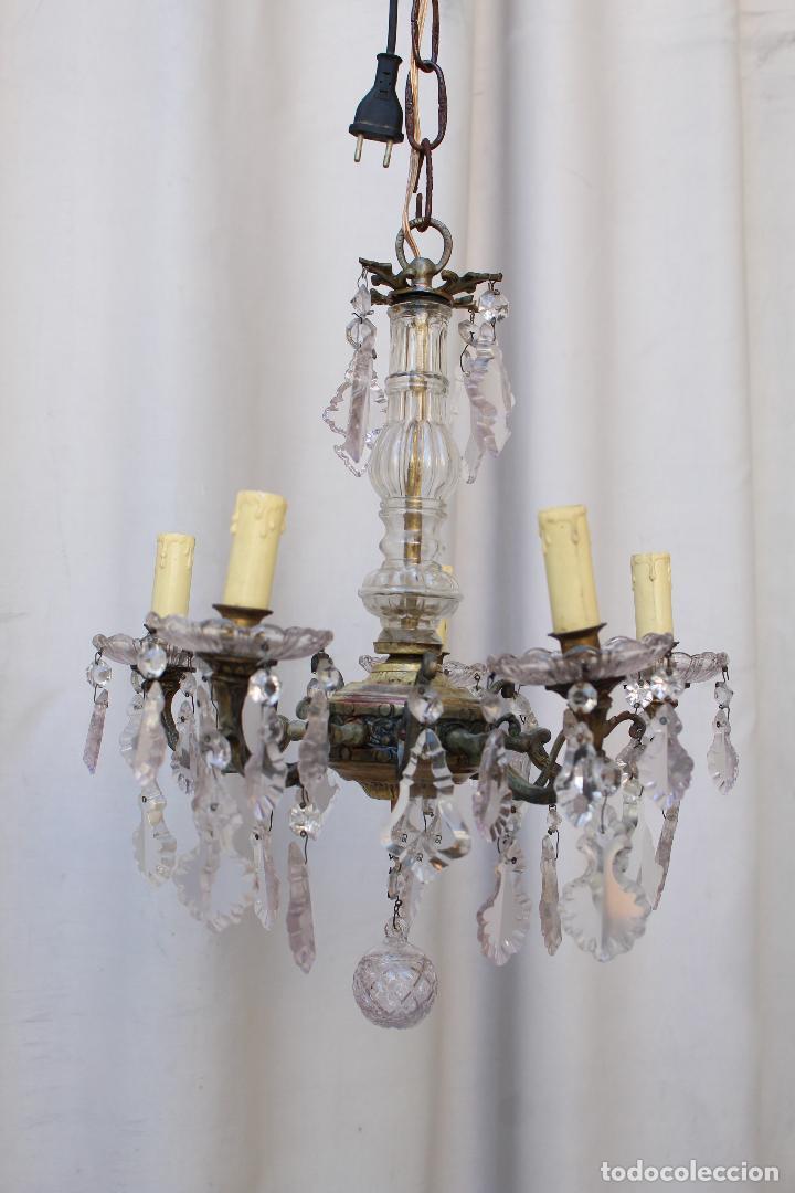 Antigüedades: lampara de techo antigua bronce y cristal - Foto 6 - 218351681