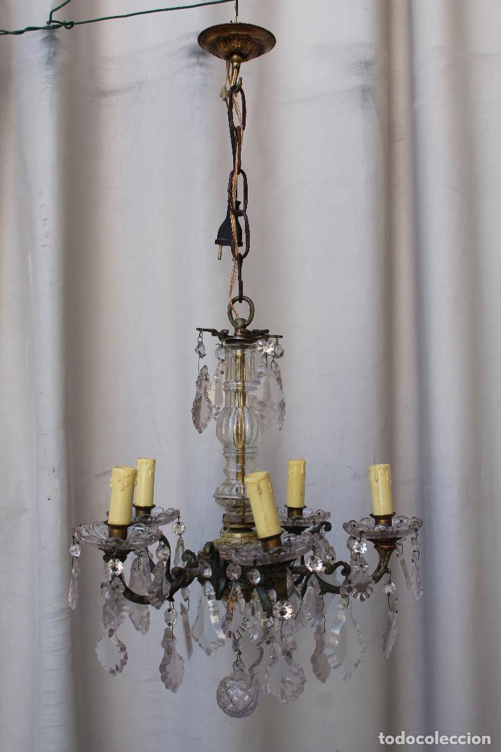 Antigüedades: lampara de techo antigua bronce y cristal - Foto 9 - 218351681