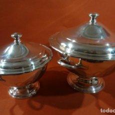Antigüedades: PAREJA DE SOPERAS DE ALPACA. Lote 218370393