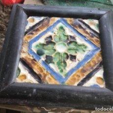 Antigüedades: AZULEJO GOTICO,CUERDA SECA ENMARCADO. Lote 218372956