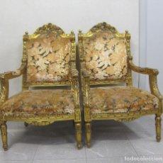 Antigüedades: PAREJA DE SILLONES FRANCESES DORADOS SXIX. Lote 218386141