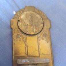 Antigüedades: ANTIGUA BENDITERA DE LA VIRGEN DEL PILAR, REALIZADA EN METAL Y CRISTAL. Lote 218414740