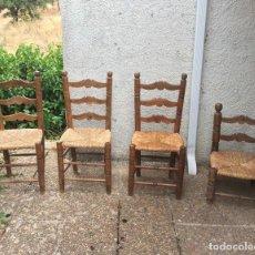 Antiquités: 1 SILLA COSTURERA - DESCALZADORA MADERA Y ENEA (MIMBRE). Lote 218436012
